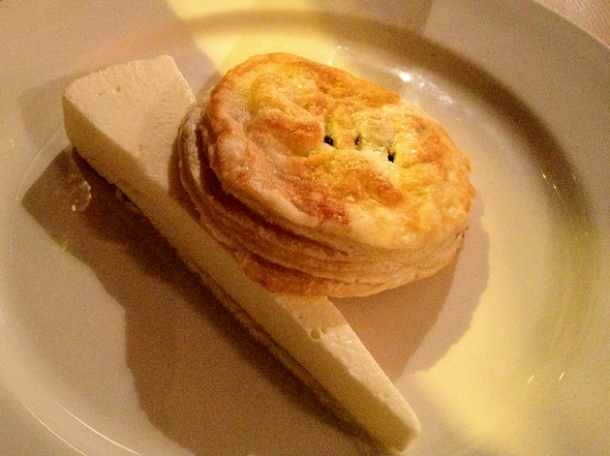 eccles cake with buttermilk and orange parfait at season