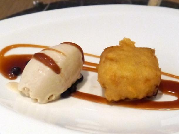 fried condensed milk dessert at bo london