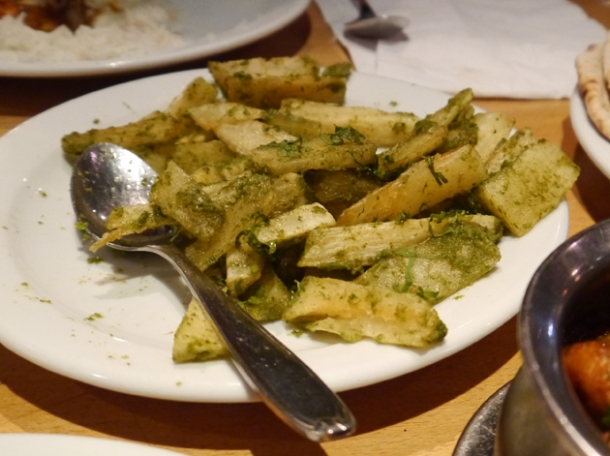 garlic mogo cassava chips at malibu club