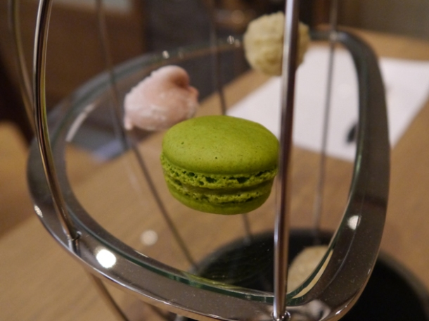 lime macaron petit fours at bo london
