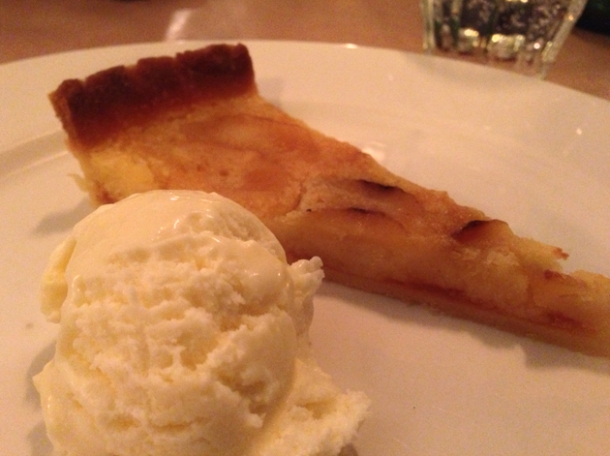parsnip tart with vodka ice cream at season