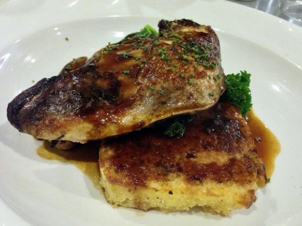 pheasant, garlic bread pudding, kale & shallots at 10 greek street