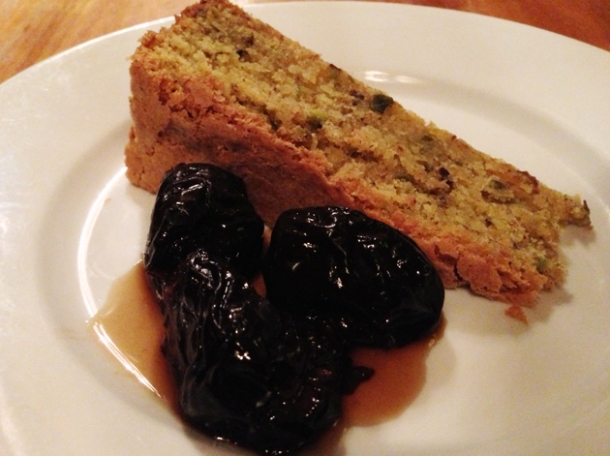 pistachio cake and prunes at great queen street