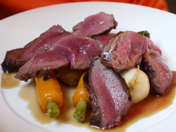 venison cooked rare at pig and butcher islington
