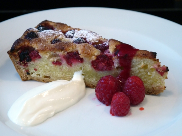 raspberry and almond tart with crème fraîche at 10 greek street