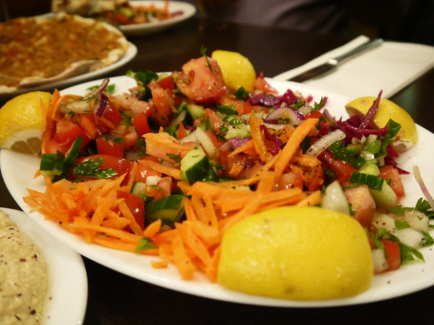 complimentary salad at yayla green lanes