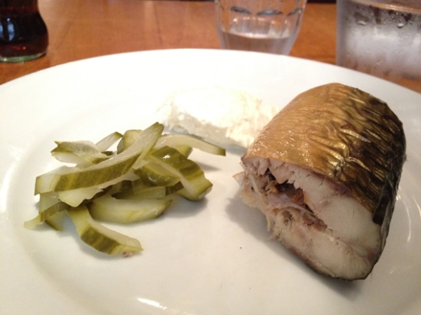 smoked mackerel with pickled cucumber and horseradish at great queen street
