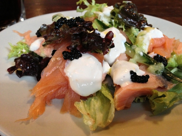 smoked salmon salad from wild game co