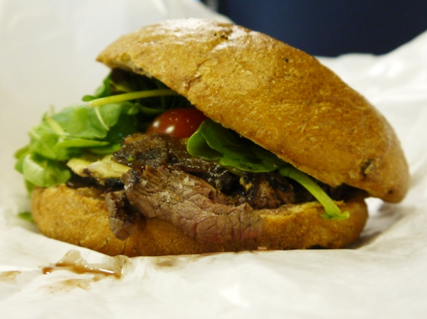 venison steak sandwich from wild game co