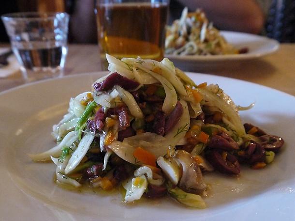 whelk, fennel, olives and pickled orange salad at great queen street