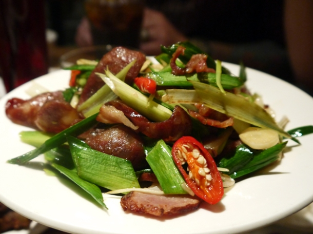 chinese sausage and barbecued pork at kiki