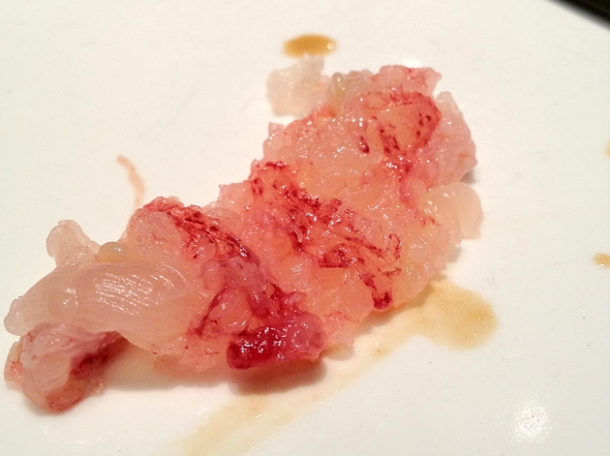 close up of lobster sashimi at pearl liang