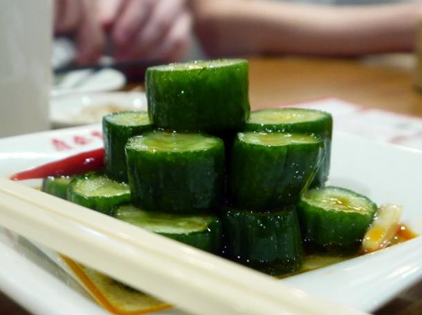 cucumber in a vinaigrette dressing at din tai fung taipei 101