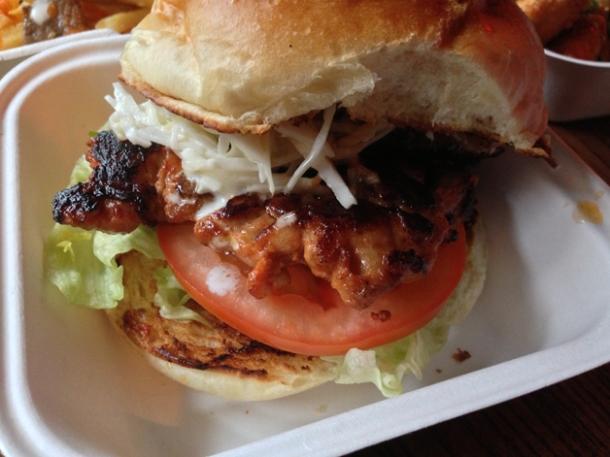 dalk galbi chicken burger at kimchi cult