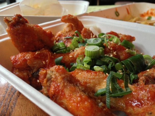 korean fried chicken wings at kimchi cult