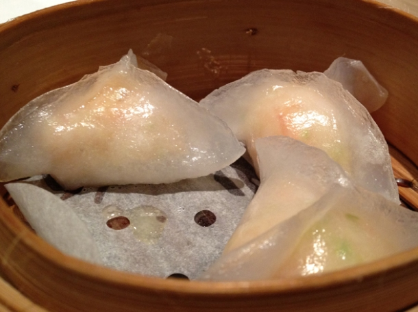 shrimp and courgette dumplings at pearl liang