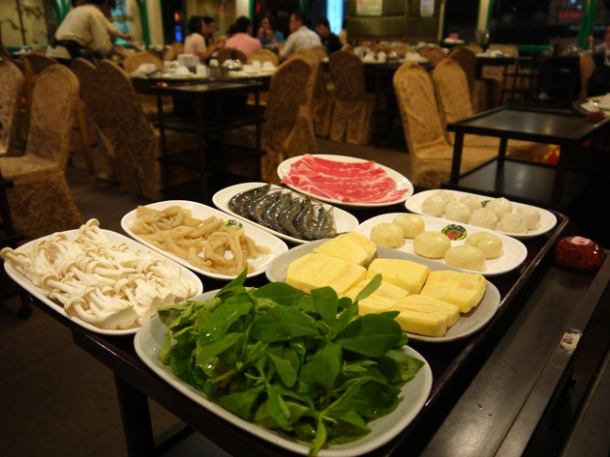 raw hot pot ingredients at tian xiang huwei hot pot