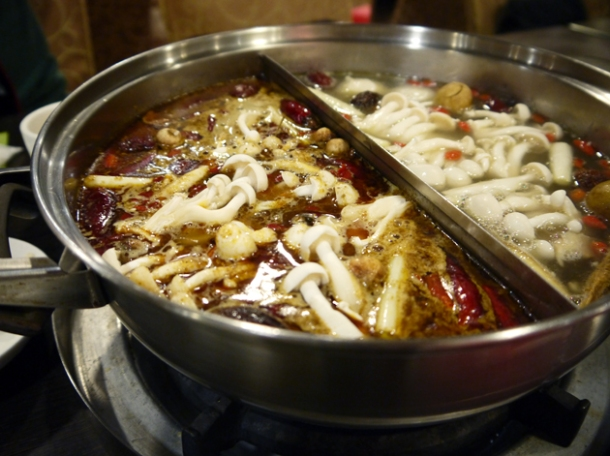 spicy peppery hot pot broth at tian xiang huwei hot pot