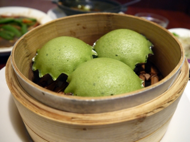 steamed green tea cakes at taiwan new paradise banana