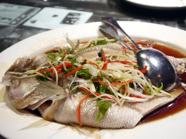 steamed sea bass at five cent driftwood house