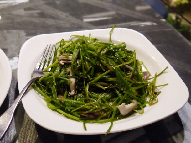 water greens with mushrooms in sesame oil at five cent driftwood house