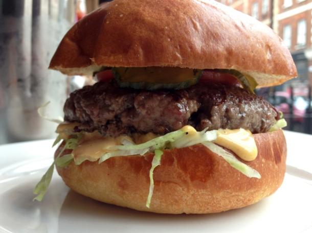 burger at burger and shake