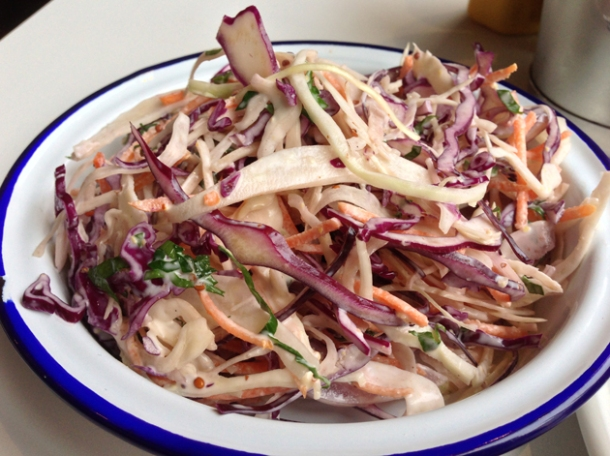 coleslaw at burger and shake