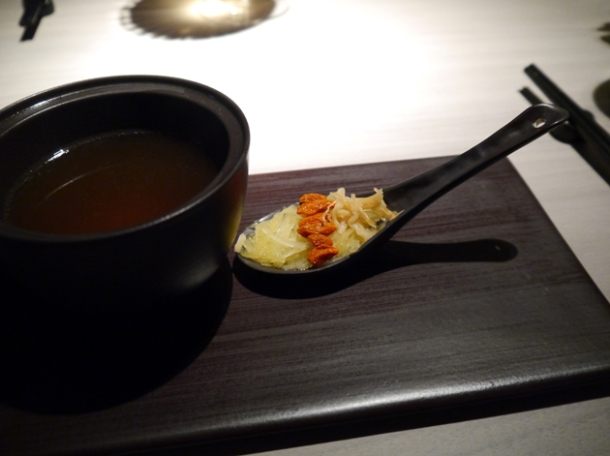 confit chicken and dried scallop soup at hkk