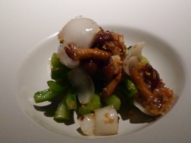 gailan, lily bulbs, mushrooms and dried shrimp in xo sauce at hkk