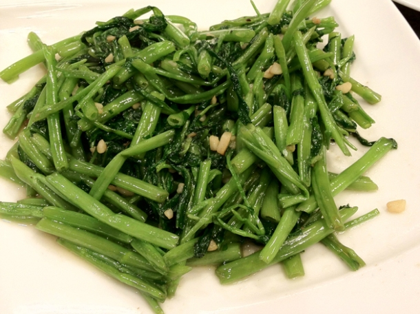 greens and shallots at shin yeh