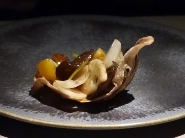 lotus root, cloud ear fungus and lily bulb salad at hkk