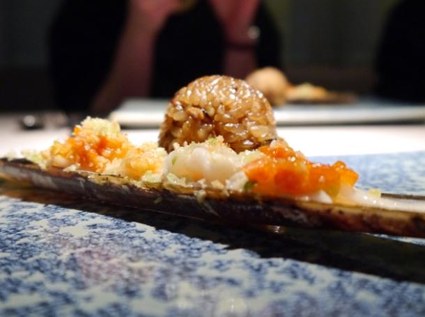 razor clams and sticky rice at hkk