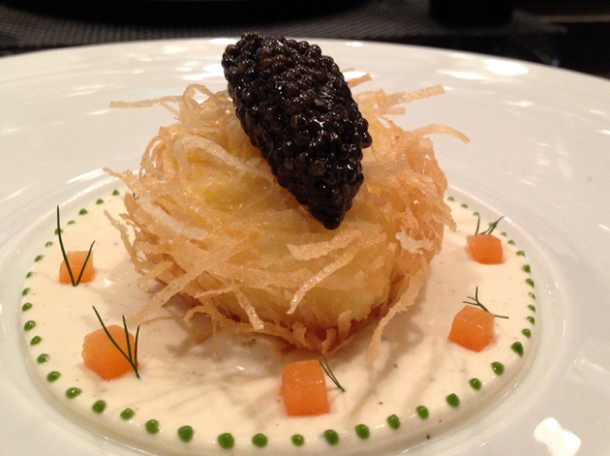 crisp poached egg with caviar and salmon cream at la cuisine de joel robuchon