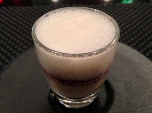 foie gras and parmesan foam amuse bouche at la cuisine de joel robuchon