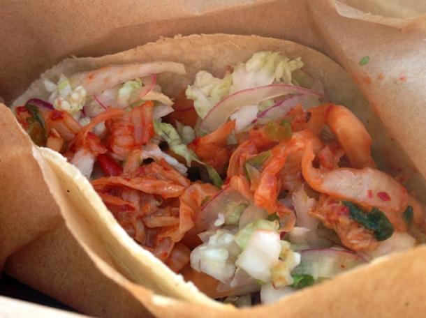 kimchi pork taco at ambriento