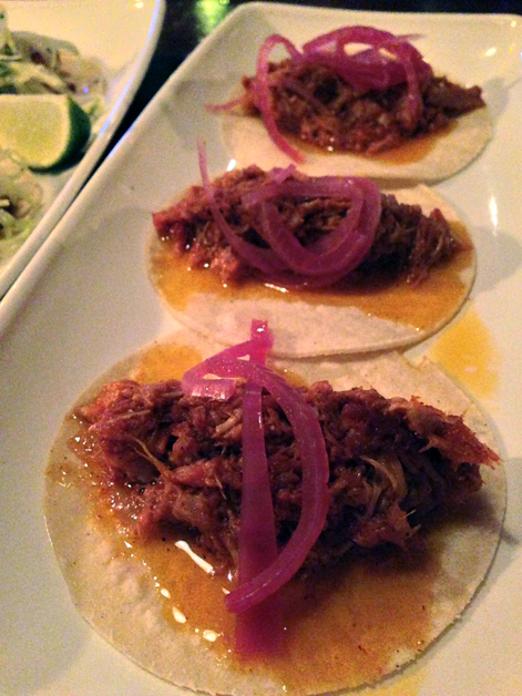 braised pork tacos at boho mexica