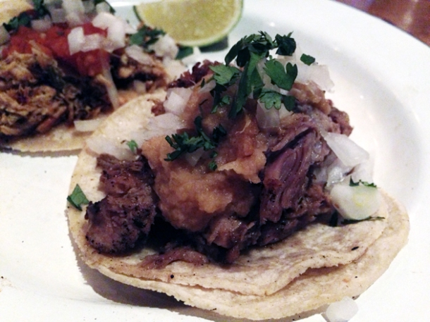 pork al pastor tacos at cafe chula