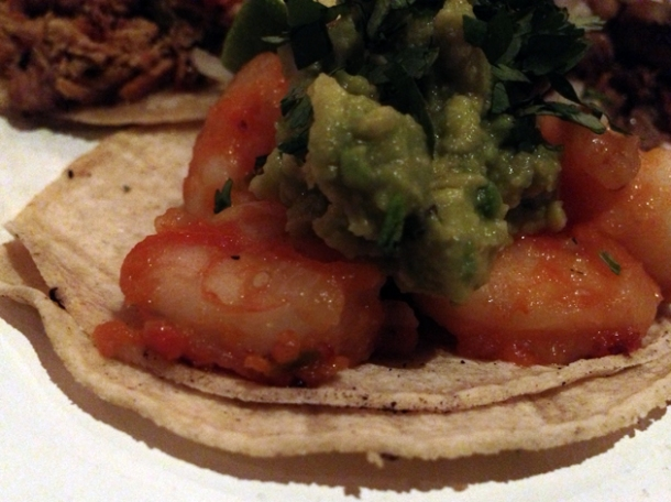 prawn tacos at cafe chula