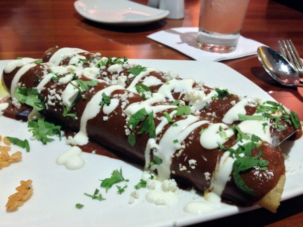 chicken mole enchilada at cantina laredo