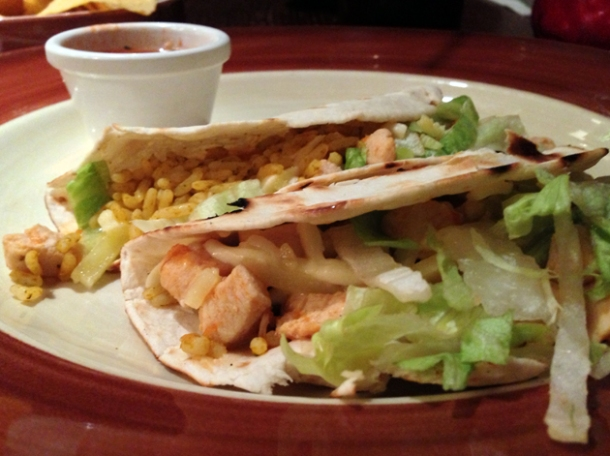 chicken tacos at chiquito