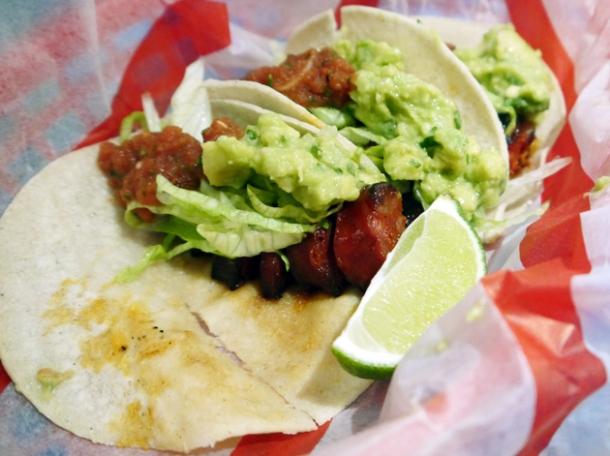 chorizo tacos at el camion