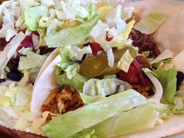 beef tacos at el mexicana