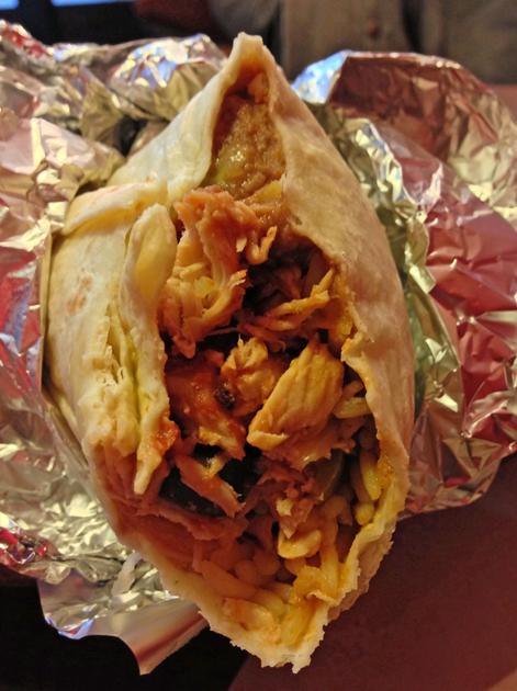 chicken burrito at el mexicana