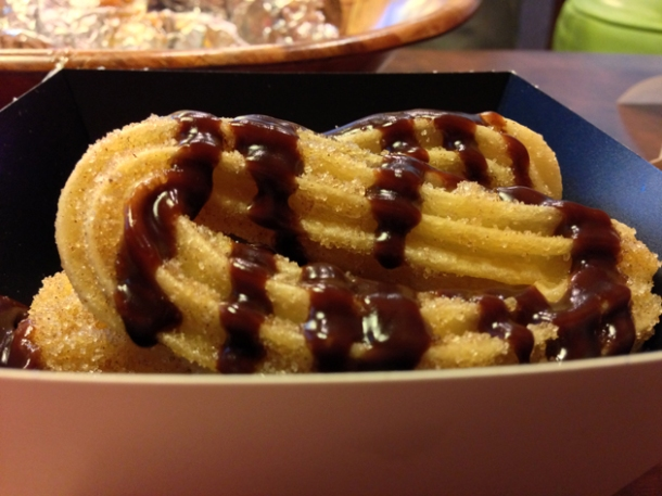 churros with chocolate sauce at el mexicana