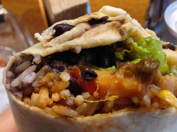 mole vegetable burrito at flying burrito