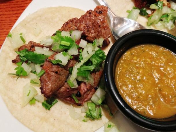 beef taco at la perla