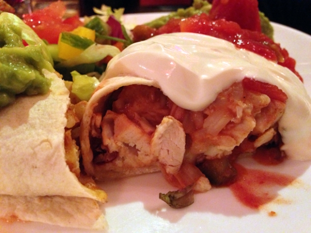 chicken burrito at l'autre