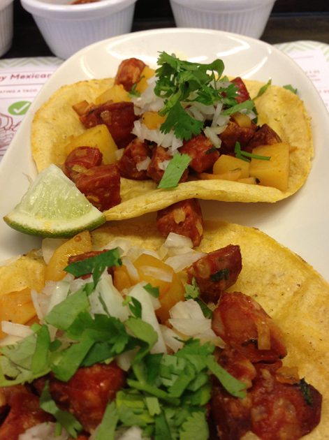 chorizo and potato tacos at lupita