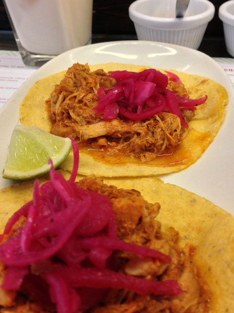 pibil pork tacos at lupita