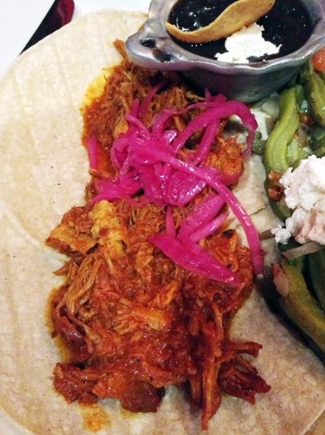 pork pibil tacos at mestizo